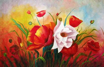 A Sunny Morning Painting - Poppies In My Garden by Georgiana Romanovna