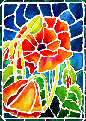 Poppies In Stained Glass Print by Janis Grau