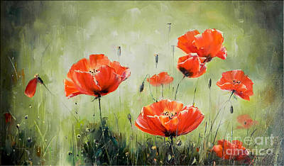 Poppies In Sunset Print by Petrica Sincu