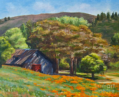 Poppies Field Painting - Poppies Near The Barn by Laura Sapko
