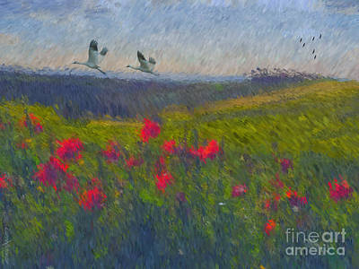 Tuscan Hills Digital Art - Poppies Of Tuscany by Lianne Schneider