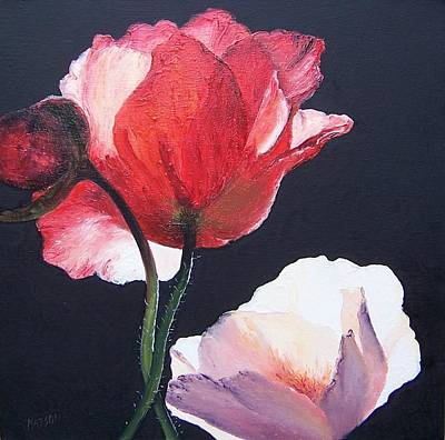 Floral Art Painting - Poppies On Black by Jan Matson