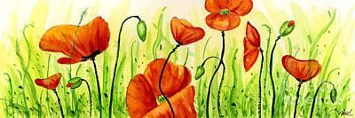 Poppies Field Painting - Poppy Field by Annie Troe