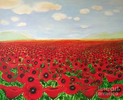 Poppy Fields Print by Karen Jane Jones