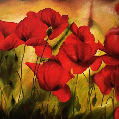 Poppy Flowers At Dusk Print by Georgiana Romanovna