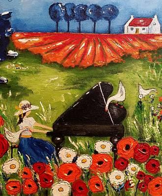 Poppies Field Painting - Poppy Serenade by Annakie Jordaan