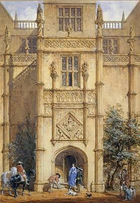 Porch At Montacute, 1842 Print by John Nash