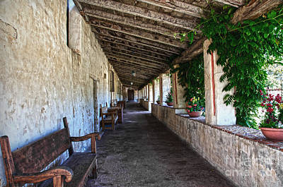 Porch On Carmel Mission Print by RicardMN Photography