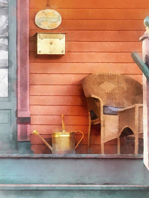 Chair Photograph - Porch With Brass Watering Can by Susan Savad