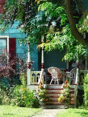 Grass Photograph - Porch With Flowerpots And Wicker Chairs by Susan Savad