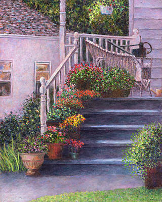 Flower Painting - Porch With Watering Cans by Susan Savad