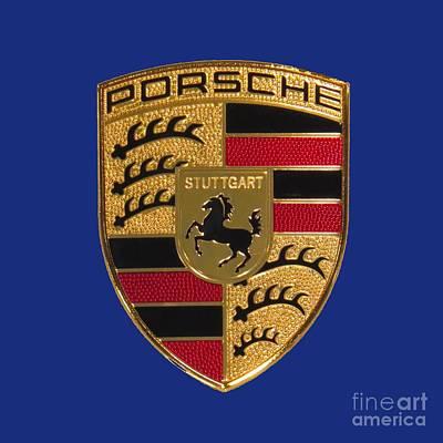 Sports Photograph - Porsche Emblem - Blue by Scott Cameron