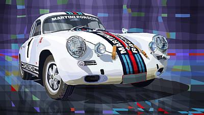 Vintage Sports Cars Digital Art - Porsche 356 Martini Racing by Yuriy Shevchuk