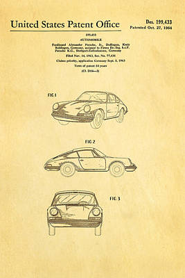 Porsche 911 Car Patent Art 1964 Print by Ian Monk
