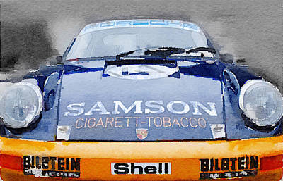 Old Mixed Media - Porsche 911 Front End Watercolor by Naxart Studio