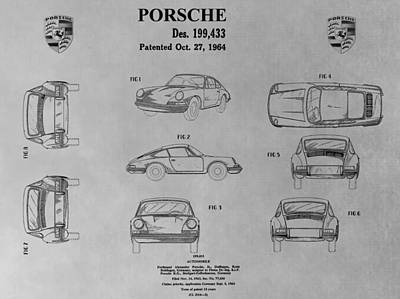 Car Drawing - Porsche 911 Patent by Dan Sproul