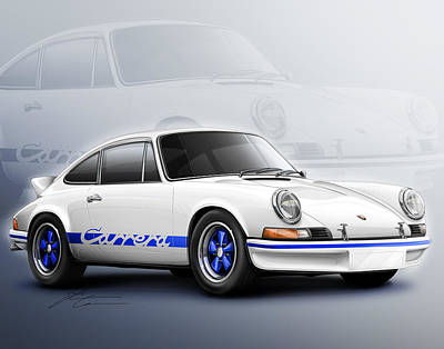 Porsche 911 Rs 1973 Print by Etienne Carignan