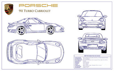 Porsche 911 Turbo Blueprint Print by Jon Neidert