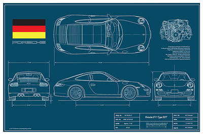 Porsche Drawing - Porsche 911 Type 997 Coupe by Douglas Switzer