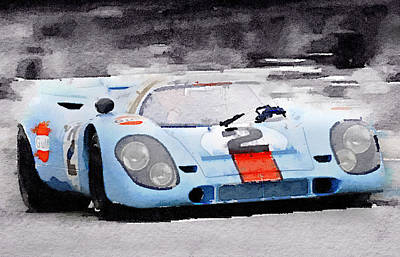 Vintage Cars Painting - Porsche 917 Gulf Watercolor by Naxart Studio