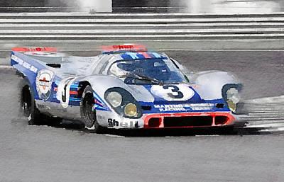 European Painting - Porsche 917 Martini Rossi Watercolor by Naxart Studio