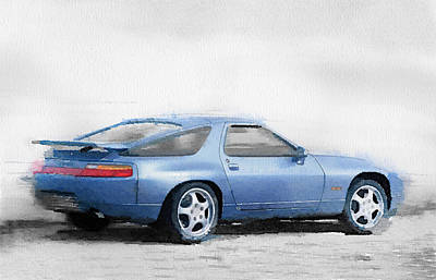 Old Car Painting - Porsche 928 Watercolor by Naxart Studio