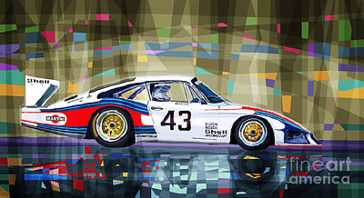 Coupe Drawing - Porsche 935 Coupe Moby Dick by Yuriy  Shevchuk