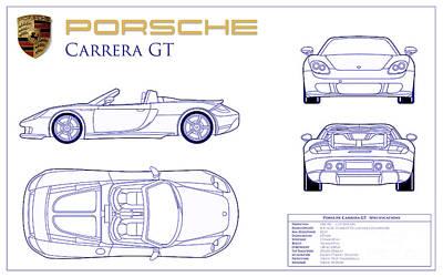Porsche Carrera Gt Blueprint Print by Jon Neidert