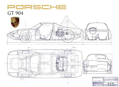 Porsche Gt 904 Blueprint Print by Jon Neidert