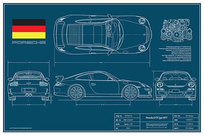 Porsche Gt3 911/type 997 Print by Douglas Switzer