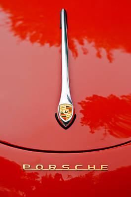 Printed Photograph - Porsche Hood Emblem -0516c by Jill Reger