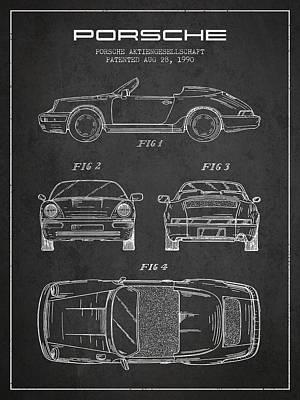 Porsche Patent From 1990 - Dark Print by Aged Pixel
