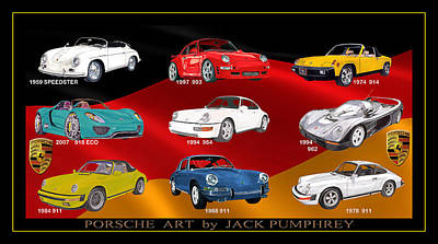 Twins Mixed Media - Porsche Times Nine by Jack Pumphrey
