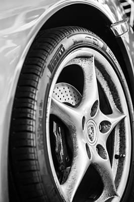 Porsche Wheel Emblem -0006bw Print by Jill Reger