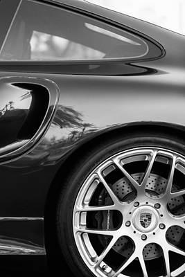 Porsche Wheel Emblem -1345bw Print by Jill Reger