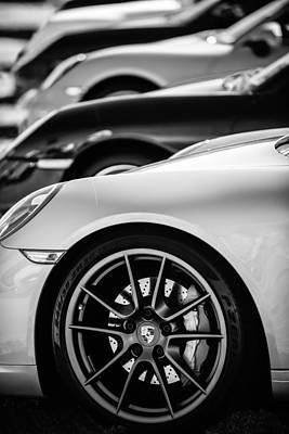 Porsche Wheel Emblem -2074bw Print by Jill Reger