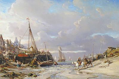 Estuary Painting - Port En Bretagne, 1861  by Louis Eugene Gabriel Isabey
