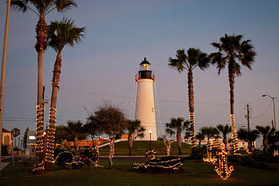 Ditto Photograph - Port Isabel Lighthouse And Christmas by Larry Ditto