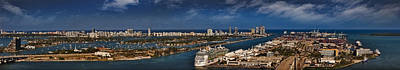 Miami Skyline Photograph - Port Of Miami Panoramic by Susan Candelario
