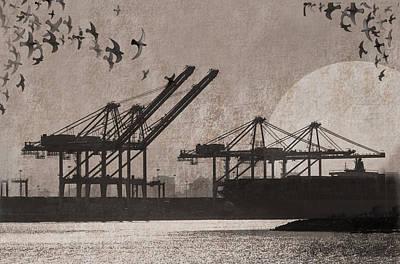 Crane Mixed Media - Port Of Oakland by Cori Pillows