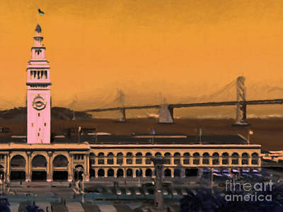 Wingsdomain Digital Art - Port Of San Francisco Ferry Building On The Embarcadero - Painterly - V1 by Wingsdomain Art and Photography