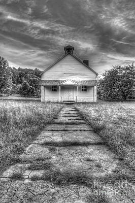 Port Oneida Schoolhouse In Black And White Print by Twenty Two North Photography