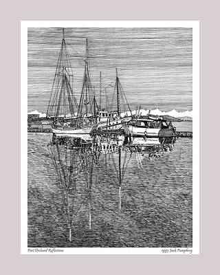 Ink Drawing Drawing - Reflections Of Port Orchard Washington by Jack Pumphrey