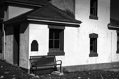 Window Bench Photograph - Port Wilson Lighthouse Bench Bw by Joan Carroll