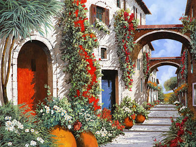 Village Painting - Porta Rossa Porta Blu by Guido Borelli