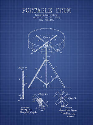 Drum Digital Art - Portable Drum Patent From 1903 - Blueprint by Aged Pixel