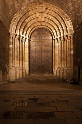 Portal Of The Lisbon Cathedral At Night In Portugal Print by Artur Bogacki