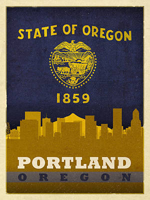 Oregon Art Mixed Media - Portland City Skyline State Flag Of Oregon Art Poster Series 004 by Design Turnpike