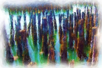 Pylon Painting - Portland Harbor Pylons 1000 20140917 by Julie Knapp