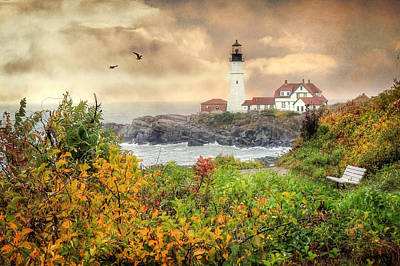 Coastal Maine Photograph - Portland Head In Autumn by Lori Deiter